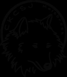 Logo CKCSJ loup avec texte sur fond transparent